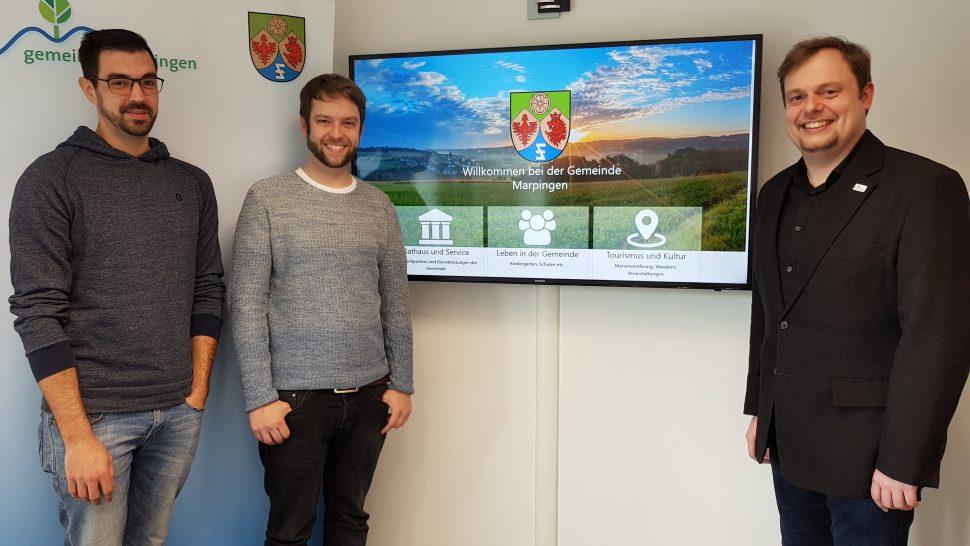 Neue Website online - zur Freude (nicht nur) von Peter Schäfer, Florian Rech und Bürgermeister Volker Weber.